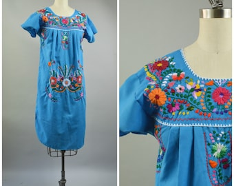 1980s Mexican Dress Embroidered Flowers on Turquoise Blue Cotton Boho Dress Hand Embroidery Size Small Size Medium