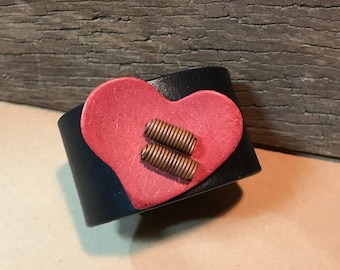 Red Coconut Heart Black Leather Cuff Bracelet