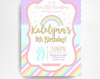 Pastel Rainbow Birthday Party Printable Invitation YOU Print Pink Lavender Gold