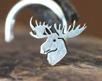 Silver Moose Nose Stud | Moose Nose Ring | Nature Nose Stud | Handmade Nose Stud | Unique Nose Ring | Nose Body Jewelry | Nose Piercing