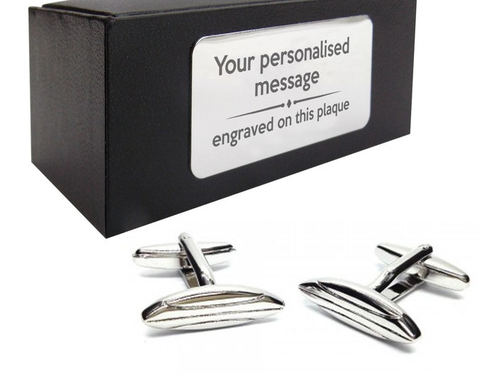 Surf board, surfer, surfing themed CUFFLINKS birthday gift idea, presentation box with PERSONALISED ENGRAVED plate - 472