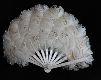 Vintage hand painted ladies hand held white feather fan, curly feathers, Victorian fan, costume fan, Steapunk fan, wedding fan, floral fan