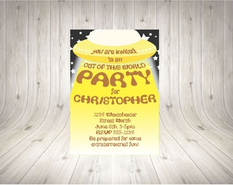 CUSTOMISABLE UFO Party Invitation YELLOW