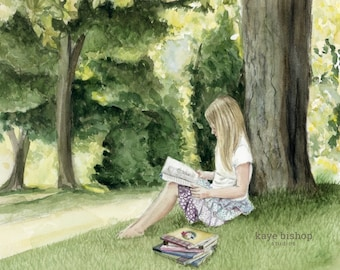 Reading Tree, Reading Painting, Book Painting, Watercolor Print, Girl Reading, Reading Painting, Girls Room Decor,Book Lover Gift,Quiet Book