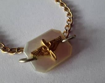 """WW II Era Sweetheart Bracelet ~ Air Force Member to Sweetheart ~ Wings on Mother of Pearl Bracelet ~ Vintage ~ 6"""" ~ WW2 Era"""