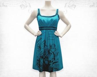 Alice in Wonderland screenprinted Cotton Dress Blue