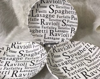 Set of 3 Over and Back pasta bowls black & white words
