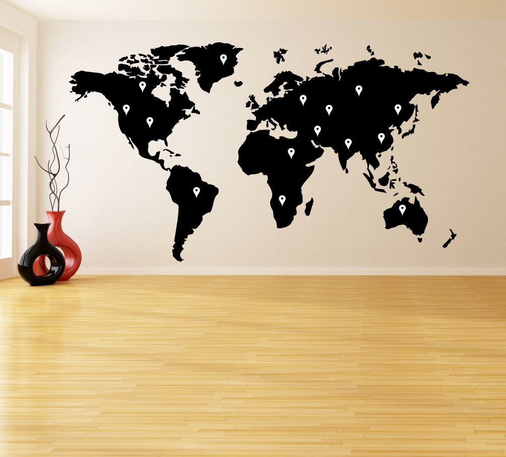 Vinyl Wall Decal World Map with Google Dots Earth Atlas