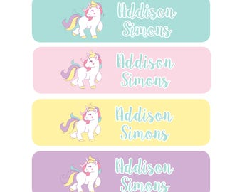 80 personalized name labels, school stickers, custom school label, teacher labels, book labels, back to school supply sticker, unicorn label
