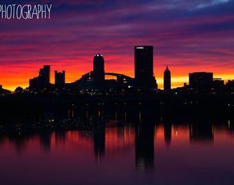 Hot Metal Sunset - Pittsburgh (city, bridges, vibrant, sunset, dusk, photo)