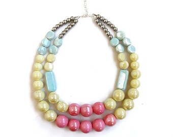 Porcelain Necklace, Chunky Beaded Statement Necklace, Double Layer Necklace, Candy Colors Necklace