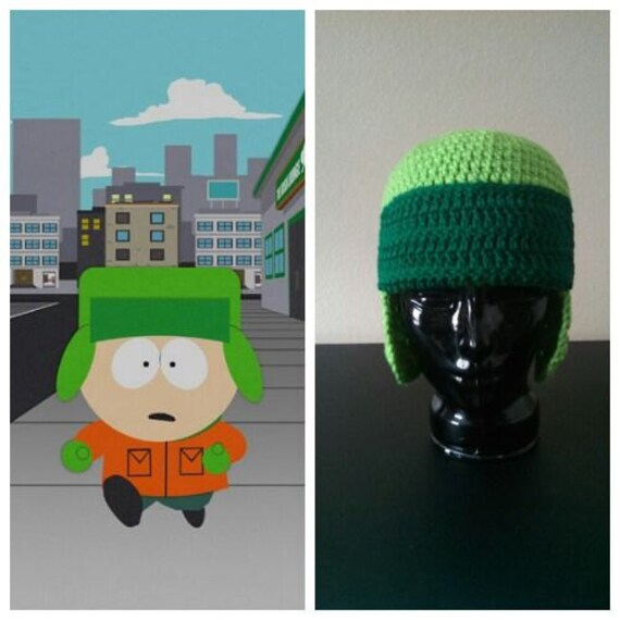 South Park Hat Kyle Inspired Crocheted Hat Beanie Green Ear