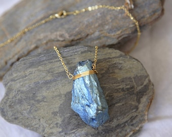 Titanium Aura Quartz Necklace, Blue Angel Aura Quartz Necklace, Angel Aura Pendant, Wrapped Crystal Necklace Boho Necklace, Hipster Necklace