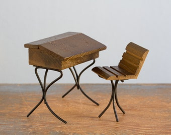 Wood and Metal Antique Style School Desk & Chair - 1:12 Scale Vintage Dollhouse Furniture