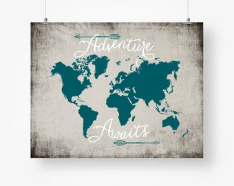 Teal world map wall art download travel quote poster arrows adventure awaits world map travel quote printable teal and gray arrows wall art decor poster sign gumiabroncs Choice Image