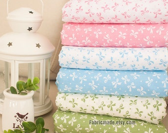 Bows Cotton Fabric White Cotton With Pink Blue Green Bows Quilting Fabric- 1/2 yard