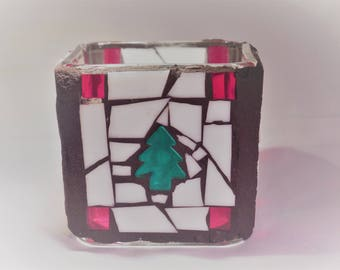 Pine Tree Mosaic Candle holder