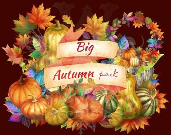 Fall clipart, thanksgiving clipart, autumn clipart, harvest clipart, autumn clip art, autumn wreaths clipart, pumpkin clipart, fall clip art