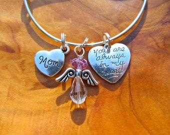 Mom- You Are Always in my Heart - Adjustable Bangle Bracelet - Personalize -Choose any Birthstone Angel
