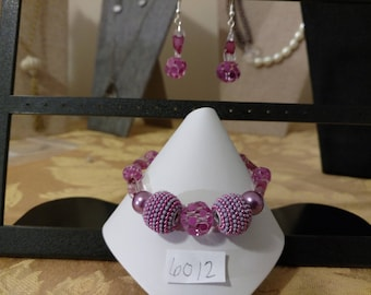 Purple and Pink Bracelet and Matching Earrings
