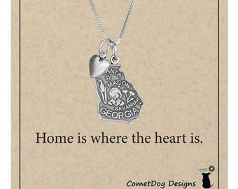 Sterling Silver Georgia State Pendant Necklace with Heart Charm   State Jewelry, Home Sweet Home Is Where the Heart Is, College Student Gift