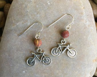 Silvr Bicycle Earrings - Bike Earrings - Whimsical Earrings - Sterling Silver Bicycle - Bicycle Jewelry - Fun Earrings - Bicycle Dangle