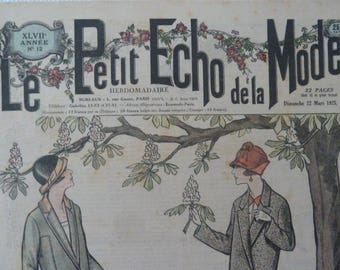 "Antique French magazine ""Le Petit echo de la mode"" Alsace Journal Gazette fashion magazine in 1925 Art Deco Edwardian style original"