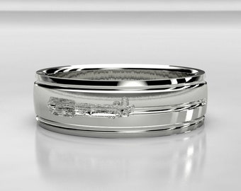 Lightsaber White Gold Wedding Ring - Nerd Wedding Band - Size 9 Ring - Size 10 ring - Star Wars Size 8 Geek Wedding Ring