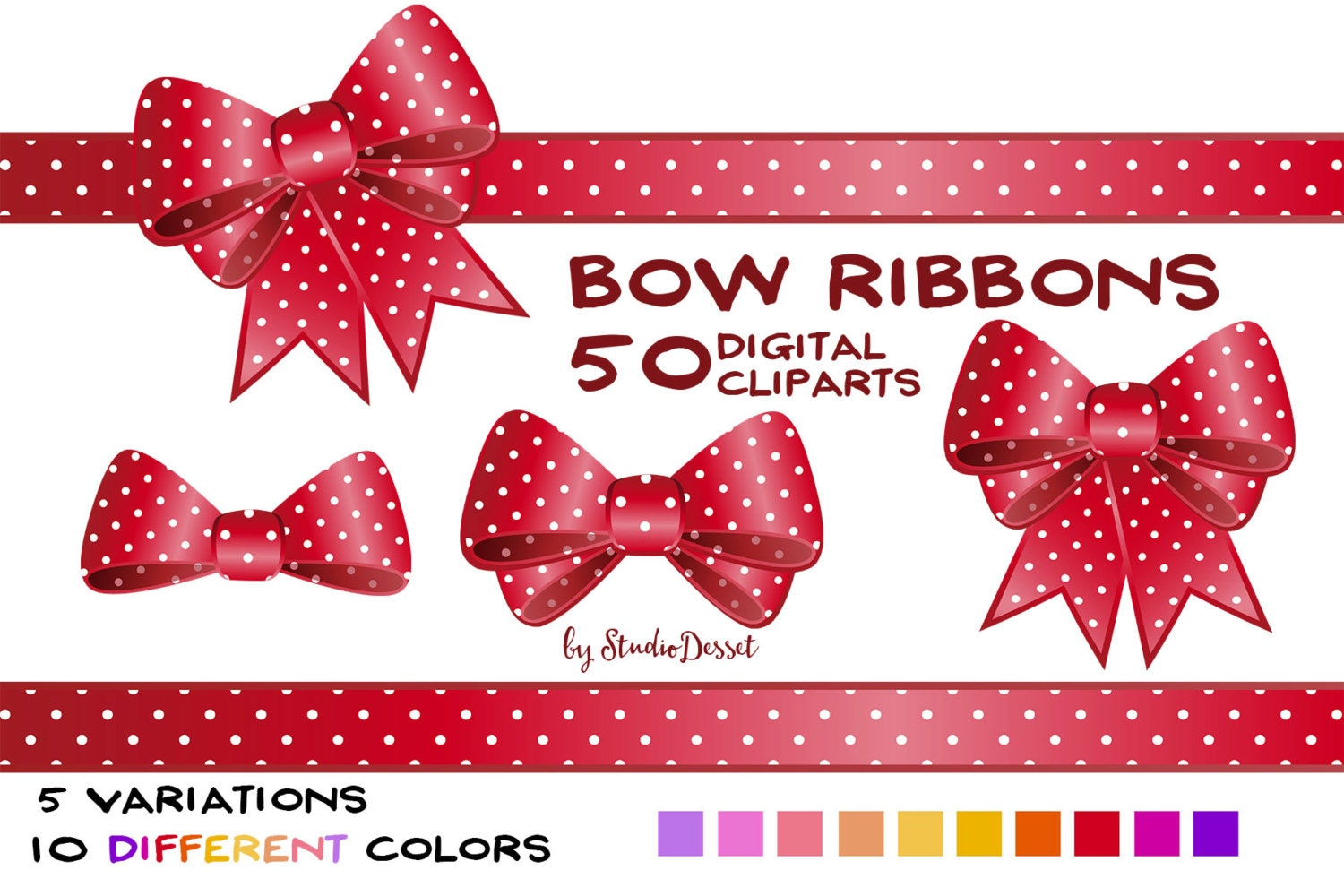 Bow ribbon cliparts gift ribbons in red pink and yellow polka dot this is a digital file negle Gallery