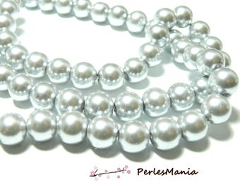 1 strand of approximately 85 gray Pearl glass beads silver 10mm PB18