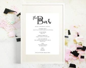 The Bar Menu, Mr and Mrs Signature Drink Menu, PDF Instant Download, Wedding Drink Menu, Wedding Sign,  Wedding Bar Menu Printable, Template
