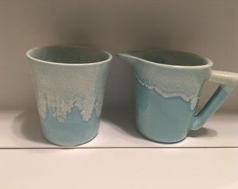 Winart creamer & cup pale blue drip glaze