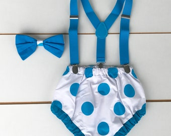 Blue & White Spotty Polka Dot Cake Smash Outfit - 3 Piece First Birthday Set