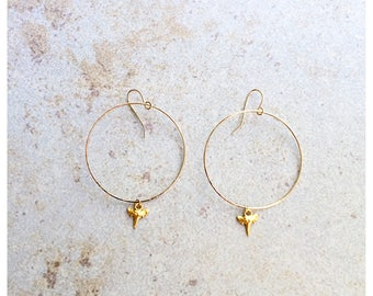 40mm Round Mini Sharktooth Earrings Goldfill
