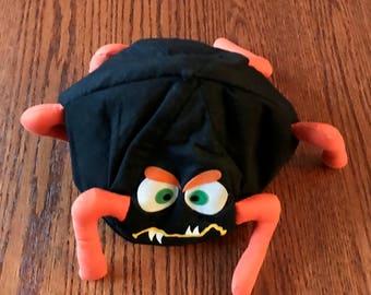 Halloween Spider Beanie Hat by Russ, Black and Orange, Vintage Halloween Hat