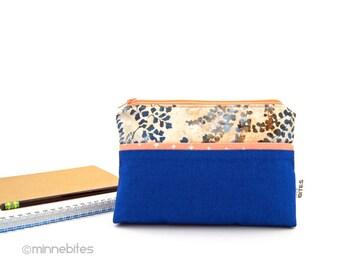 Spring Fern Purse - Blue Pouch Wristlet - Mothers Day Gift - Gardener Zipper Organizer - Cosmetic Case - Zipper Purse Pouch - Ready to Ship