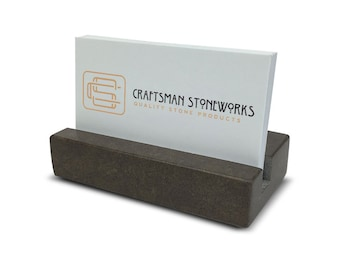 Business Card Holder - Brown Quartz - Office Desk Home, Recycled Quartz