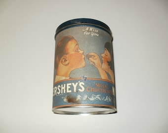 Vintage 1980 Hersheys Kisses Metal Tin, Vintage 1907 Print, Crafting, Metal Container, Storage, Collectible Can, Chocolate,Home Decor,Unique