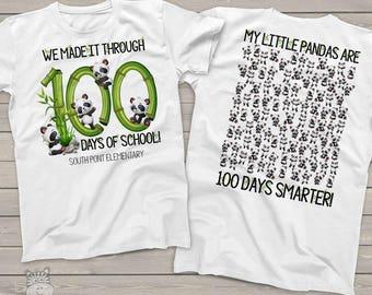 Teacher shirt - 100 days of school - panda hundred days smarter crew neck or vneck shirt   MSCL-120