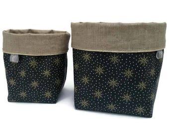 Organizer, basket, storage basket, etoilesl, trendy, black, gold, piping, linen coated fabric star, reversible, and gift