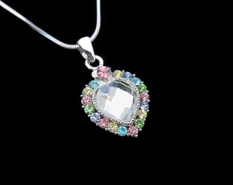 Crystal Heart Pendant Charm Necklace Silver Tone Multi With 10mm Heart Clear