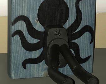 Octopus Wooden Guitar Hanger (ukulele, banjo, mandolin too!) with adjustable hook