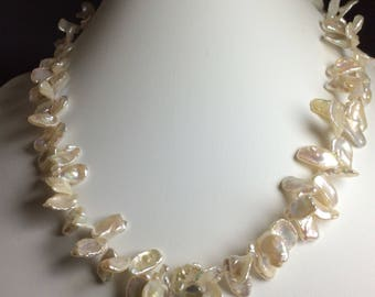 Pearl necklace, keishi pearls, freshwater pearls with great colours.