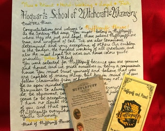 Hufflepuff House Acceptance Letter & Accessories - Personalized and Handwritten