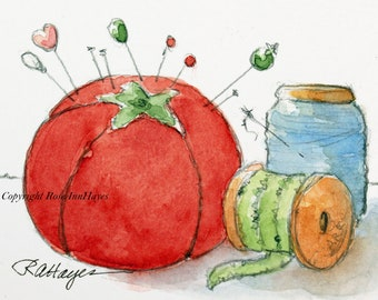 Red Pincushion Original Painting Watercolor Vintage Sewing Notions ACEO Gift