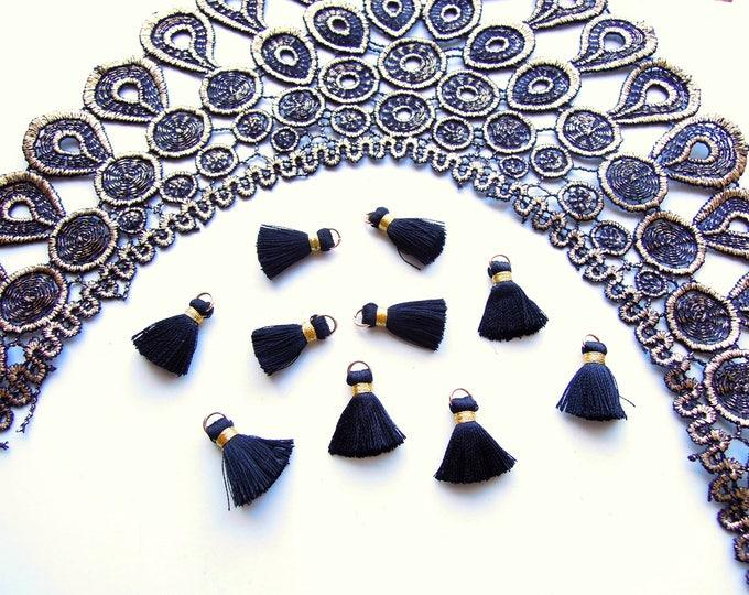 10 Black jewellery tassels - Small jet blacl mini tassels with gold jump ring - Black bracelet tassels, Necklace tassels with gold trim