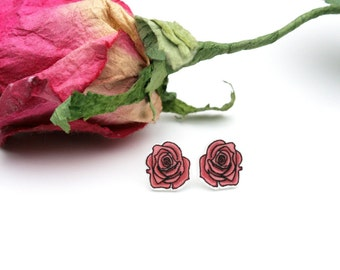 Pink Rose Shrink Plastic Stud Earrings