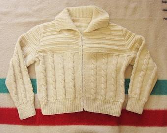 Medium / Large Women's Handmade Zip Up Cardigan, Cream Wool Cable Knit / Fisherman Sweater, Shawl Collar, Zipper Front