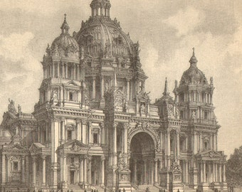 1903 Original Antique Engraving of the Berlin Cathedral