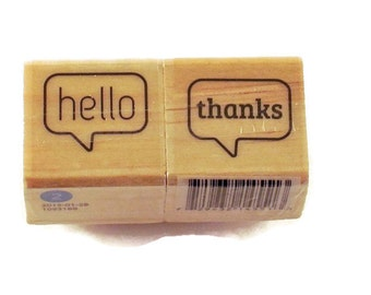 Mini  Rubber Stamp Set  -  hello / thanks